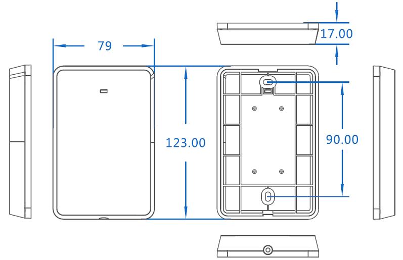 经典简约款门禁读卡器尺寸规格图