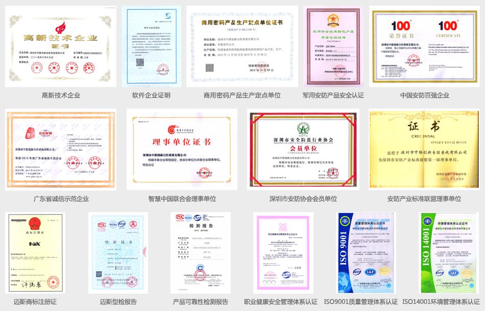 中联创新及迈斯门禁企业证书